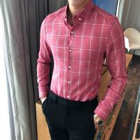 新款秋冬韩版潮流复古格子衬衣英伦时尚修身男士长袖衬衫
