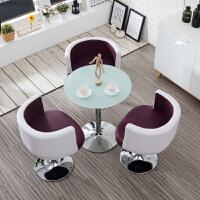 商务办公谈判接待桌椅组合休息区洽谈休闲圆桌简约玻璃会客桌现代 紫色 一桌三椅 玻璃桌