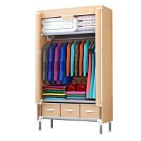 衣柜简易布衣柜学生宿舍钢管加厚衣橱组装双人布艺经济型柜子 2门