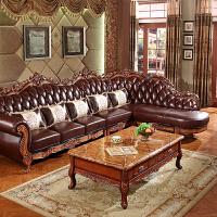 欧式茶几实木雕花大理石面美式客厅储物复古长方形茶几古典茶桌 组装