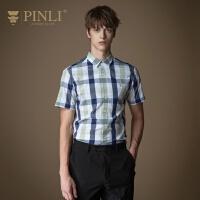 PINLI品立2020夏季新款男�b修身格子短袖�r衫男士�r衣日常男潮