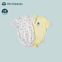迷你巴拉巴拉纯棉包屁衣2021年夏季新款宝宝三角衣可爱印花2件装