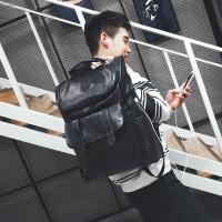 ?2018新款双肩包男潮牌时尚潮流个性高中学生书包韩版百搭情侣背包? 2_升级版PU皮黑色 带充电口+耳机线