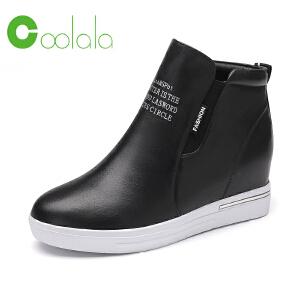 红蜻蜓coolala新品内增高女鞋街头潮流舒适拉链平底防水台女单鞋