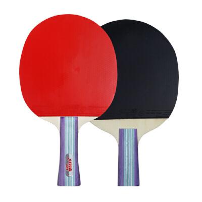 红双喜(DHS)兵乓球初学成品双拍套装娱乐入门横直拍家庭装健身兵乓球拍(两拍一球) 包邮