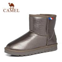 camel骆驼冬季韩版学生短靴毛球雪地棉鞋厚底棉靴平底靴冬季女靴子