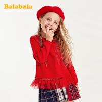 【1件7折价:97.93】巴拉巴拉童装女童毛衣春季儿童针织套头衫小童宝宝洋气红色线衣女