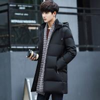 冬季保暖中长款连帽男士羽绒服潮流修身韩版男装外套