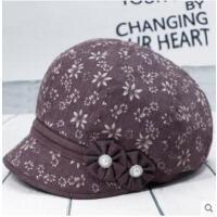 逛街女士帽子中老年薄款时装帽妈妈短檐贝雷帽老年人布帽鸭舌帽