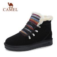 骆驼冬季新款民族风复古雪地靴女保暖系带圆头棉靴子平底短靴