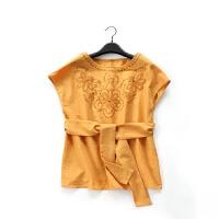 D351特日单甜美品牌新下秋款客供面料精致绣花系腰带优雅雪纺衫