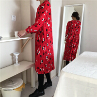 早春新款 韩国甜美黑白小花朵点缀 红色百褶娃娃连衣裙