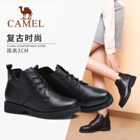 camel骆驼秋冬新款牛皮短靴简约英伦复古保暖加绒低跟圆头靴子女