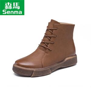 森马秋冬新款学生平底马丁靴女短筒厚底鞋复古短靴英伦系带机车靴