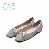 CNE2019春夏新款船鞋温柔方绒面蝴蝶结芭蕾奶奶鞋女单鞋AM18202