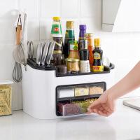 家居时尚多功能厨房置物架调味盒调料罐瓶套装组合刀架油盐酱醋收纳储物架省空间