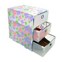 金属边环保PP三层抽屉收纳盒/整理盒 储物箱塑料收纳箱抽屉式收纳柜透明衣柜收纳盒款式随机