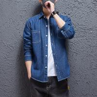 日系牛仔衬衫 青年修身衬衣日系复古衬衫男士秋季原宿风学生休闲格子水洗口袋衬衣