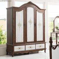 美式乡村实木衣柜整体简约欧式2门3门4门大衣柜地中海柜卧室家具