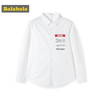 巴拉巴拉童装男童长袖衬衫秋装2019新款儿童衬衣白衬衫简约印花男
