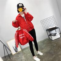 2018春秋新款一家三口韩版外套母子母女装儿童冲锋衣男女童子装