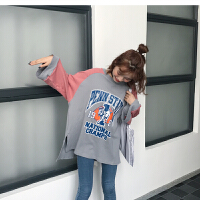 韩国2017ulzzang秋装新款x1宽松圆领拼接字母印章七分袖T恤女