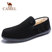 camel骆驼男鞋 秋季新款男士休闲鞋牛皮舒适保暖休闲套脚豆豆鞋