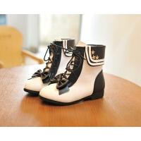 女童靴子秋冬2018新款韩版公主真皮短靴加绒儿童马丁靴粉色中筒靴