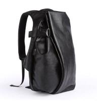 pu皮男士简约休闲双肩背包时尚潮流旅行包学生大容量书包电脑男包 黑色