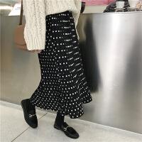 春夏新款韩版裙子女夏波点雪纺半身长裙修身百褶裙中长款