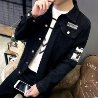 201808282354225292018新款2018青年新款牛仔夹克男士外套韩版男装修身黑色男生衣服帅气潮流
