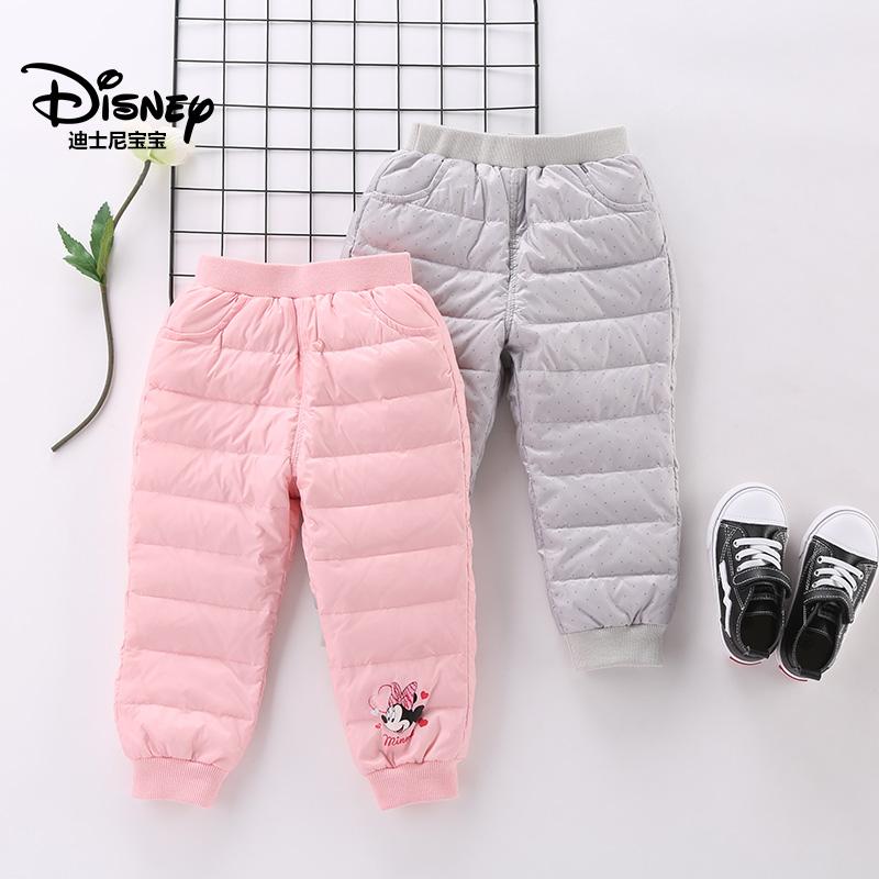 迪士尼宝宝森林小世界女童梭织羽绒长裤2018冬款上新