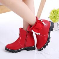 女童皮鞋秋冬2018新款韩版女童靴子加绒马丁靴儿童短靴棉鞋子