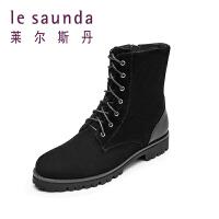 【全场3折】莱尔斯丹 冬新款圆头系带英伦加绒加厚保暖马丁靴短靴40110