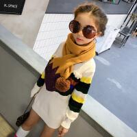童装女童中长款毛衣 2017装新款儿童针织打底衫 韩版女大童圆领
