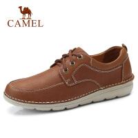 camel骆驼新款工装休闲真皮牛皮 系带休闲鞋男士皮鞋子男