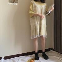韩国学院风甜美中长款蕾丝连衣裙+七分袖T恤两件套套装学生 均码
