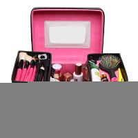 韩国3ce化妆包超大号容量便携手提化妆箱护肤品收纳包洗漱包 黑色 送镜子+梳子