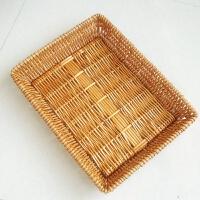 藤编收纳筐柳编水果展示筐编织筐面包竹篮果盘果篮水果篮子零食框