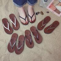 韩版学生休闲防滑拖鞋女 新款度假沙滩拖鞋女 时尚外穿凉拖鞋女人字拖