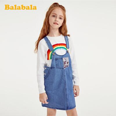 巴拉巴拉儿童连衣裙女童公主裙春装大童牛仔背带裙百搭时髦洋气女