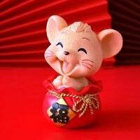 鼠年吉祥物萌鼠可爱家居摆件车载摇头卡通个性创意桌面摆