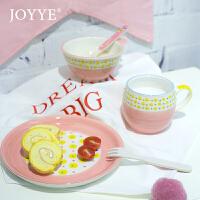 可爱粉蓝波点早餐套装儿童餐具宝宝辅食碗套装牛奶杯菜盘礼物