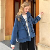 MG小象冬季短款外套女2019新款韩版宽松小个子加厚流行毛呢大衣潮