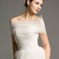 2018新品新娘结婚婚纱礼服伴娘一字肩纱肩袖活动袖遮胖胳膊显瘦纱披肩坎肩