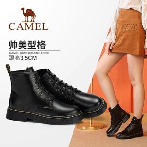 骆驼女鞋2018冬季新款女靴 英伦风时尚瘦瘦靴子马丁靴粗跟短靴子