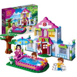 【当当自营】邦宝小颗粒媚力都市益智拼插积木女孩过家家玩具梦幻屋6109