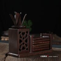 古韵黑檀木茶道六君子组合套装十二件套 实木茶具配件茶艺带杯垫