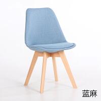 椅子创意北欧实木餐椅现代简约办公洽谈休闲布艺家用靠背椅