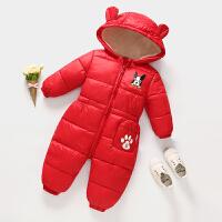 婴幼儿哈衣冬儿童羽绒男女连体衣宝宝0套装1岁2婴儿3潮加厚2